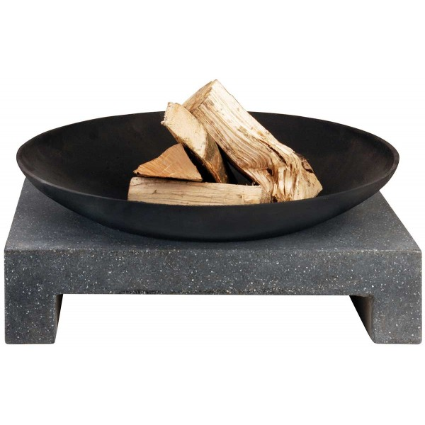 Brasero en fonte sur support granit rectangle brasero for Brasero de jardin en fonte